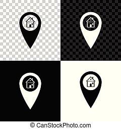 carte, maison, symbole., illustration, isolé, arrière-plan., vecteur, emplacement, noir, marqueur, maison, blanc, indicateur, transparent, icône