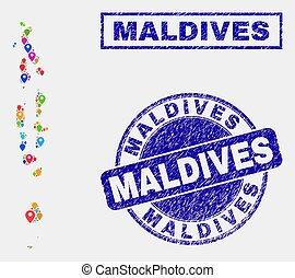 carte, maldives, détresse, timbre, cachets, epingles, mosaïque
