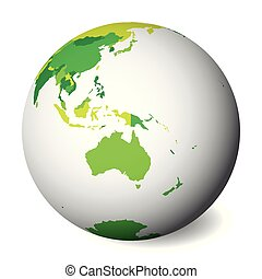 carte, map., globe, politique, illustration, vecteur, vert, vide, la terre, australia., 3d