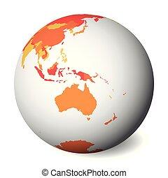 carte, map., globe, politique, illustration, vecteur, vide, orange, la terre, australia., 3d