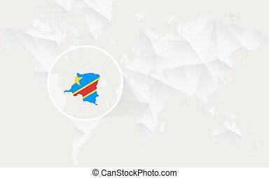 carte, map., polygonal, drapeau, congo, république, mondiale, blanc, démocratique, contour