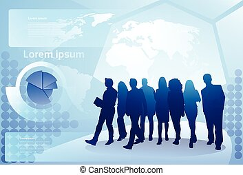 carte, marche, concept, silhouette, professionnels, sur, businesspeople, groupe, fond, équipe, mondiale