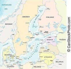 carte, marginal, océan, atlantique, mer, baltique