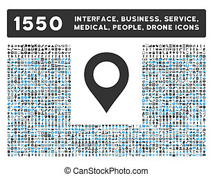 carte, marqueur, icône, et, plus, interface, business, outils, gens, monde médical, récompenses, plat, glyph, icônes
