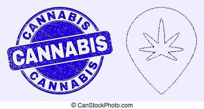 carte, marqueur, mosaïque, cannabis, timbre, bleu, cachet, gratté