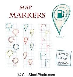 carte, marqueurs