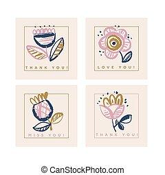 carte, mettez stylique, couleur, pâle, floral, rose, ...