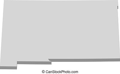 carte, mexique, states), (united, -, 3d-illustration, ...