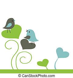 carte, mignon, oiseaux, salutations, balançoire