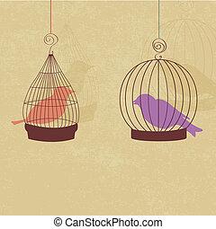 carte, mignon, vendange, deux, retro, oiseaux, cages