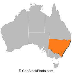carte, mis valeur, nouveau, australie, galles, sud