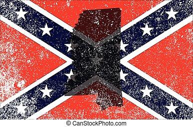 carte, mississippi, civil, drapeau, rebelle, guerre