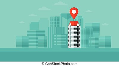 carte, moderne, pointer., fond, ville