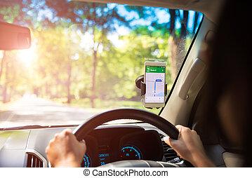 carte, modifié tonalité, téléphone portable, voiture., gps, navigation, sunset.