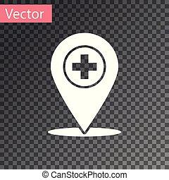 carte, monde médical, croix, illustration, isolé, arrière-plan., vecteur, blanc, indicateur, hôpital, transparent, icône