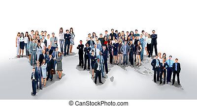 carte, mondiale, équipe, professionnels