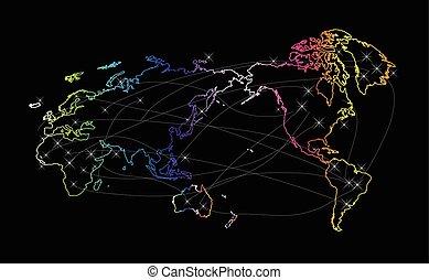 carte, mondiale, coloré, commercer, connexions, internet, logo