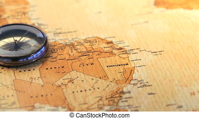 carte, mondiale, compas