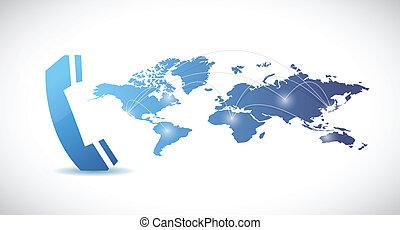 carte, mondiale, conception, illustration, téléphone