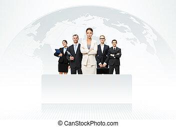 carte, mondiale, fond,  Business, équipe