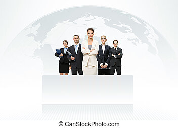 carte, mondiale, fond, equipe affaires