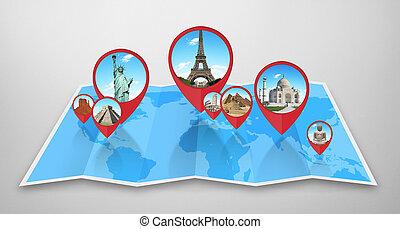 carte, mondiale, monuments