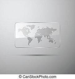 carte, mondiale, pointillé, verre
