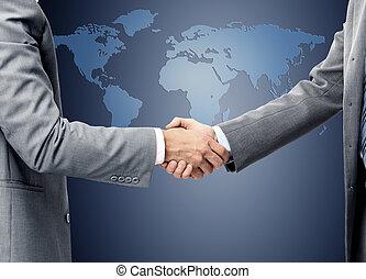 carte, mondiale, sur, poignée main