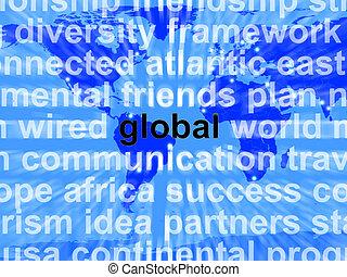 carte, mot, commerce, projection, global, international