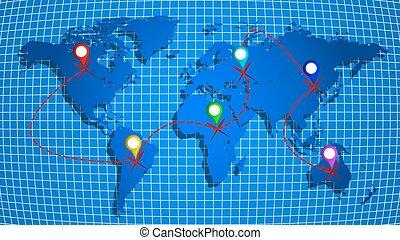 carte, mouvement, la terre