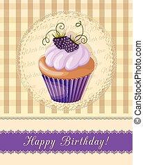 carte, myrtille, petit gâteau, serviette, anniversaire, vendange