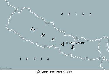 carte, népal, politique