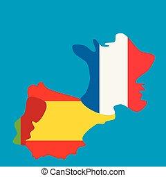 carte, national, france, drapeaux, portugal, espagne