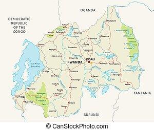 carte, national, rwanda, parc, route