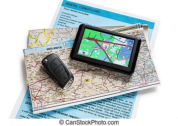 carte, navigateur, blanc, route