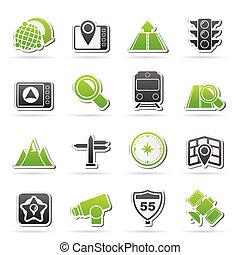 carte, navigation, et, emplacement, icônes