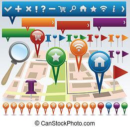 carte, navigation, icônes