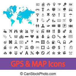 carte, navigation, icons.