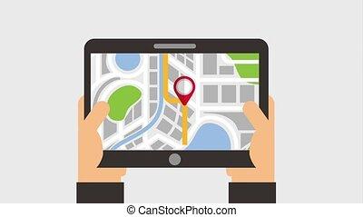 carte, navigation, tenant mains, appareil, indicateur