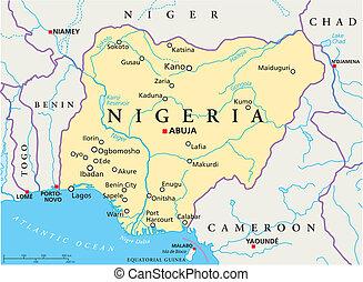 carte, nigeria, politique