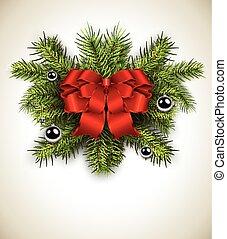 carte, noël blanc, wreath.