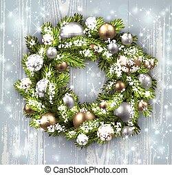 carte, noël, wreath.