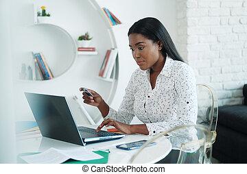 carte, noir, crédit, ligne, femme, payant, achat