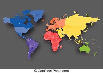 carte, nom, coloré, pays, étiquettes, vecteur, simplifié, world.