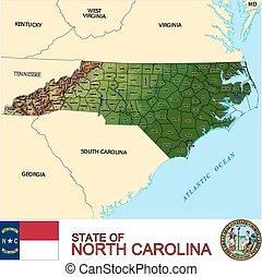 carte, nord, comtés, caroline