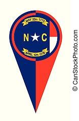 carte, nord, drapeau, emplacement, indicateur, caroline