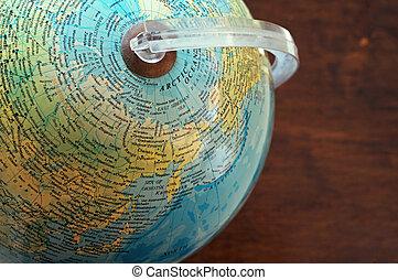 carte, nord, globe, asie, partie, arctique