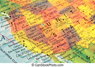 carte, nord, image, ouest, gros plan, usa.