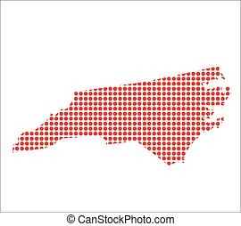carte, nord, point, rouges, caroline