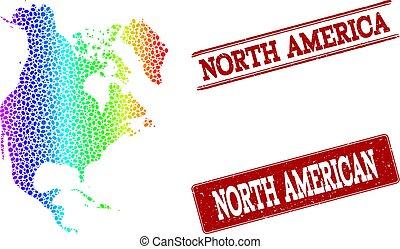 carte, nord, pointillé, timbre, spectre, cachets, grunge, amérique